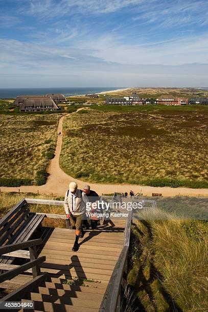Germany Schleswig Holstein North Sea North Frisian Islands Sylt Island Kampen Uwe Dune People Climbing Up Stairs