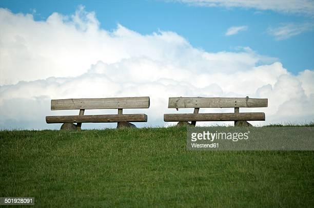 Germany, Schleswig-Holstein, Leikenhusen, two benches