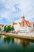 Germany, Schleswig-Holstein, Luebeck, old town, Trave river, Saint Peter's Church and Saint Mary's Church