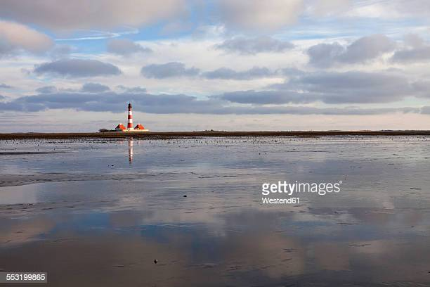 Germany, Schleswig-Holstein, North Sea Coast, View of Westerheversand Lighthouse, Wattenmeer