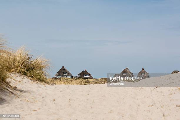Germany, Schleswig-Holstein, Sylt, Hoernum, Odde, thatched-roof houses at dune