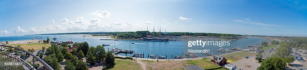 Germany, Schleswig-Holstein, Travemuende, Harbour with Passat sailing ship, Panorama