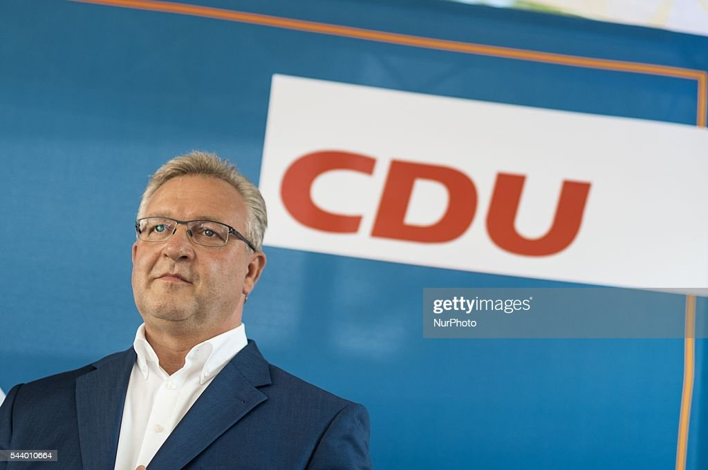 Germany Senator for the Interior and Sport, Frank Henkel, reacts during CDU summer festival held in Berlin, Germany, on 30 June 2016.