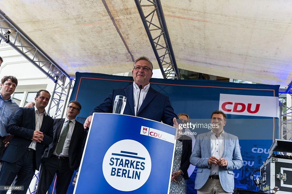 Germany Senator for the Interior and Sport Frank Henkel speaks during CDU summer festival held in Berlin, Germany, on 30 June 2016.
