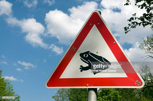 Germany, Toad migration sign, close-up
