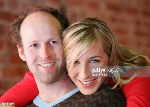 Germany speed skater Anni Friesinger and her boyfriend Ids Postma of The Netherlands pose during an interview at the announcement of Dextro as a new...