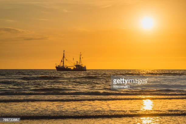 Germany, St Peter-Ording, fishing boat in sunset