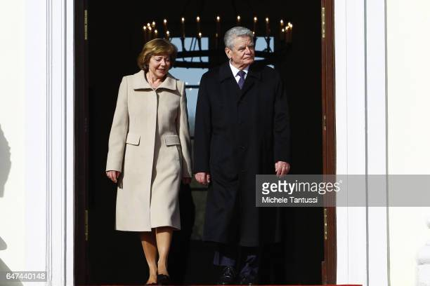 Germany state President Joachim Gauck and his Partner Daniela Schadt arrive to receive the Austrian's state President ahead of the Military honor...