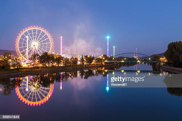Germany, Stuttgart, Cannstatter Wasen fairground at night