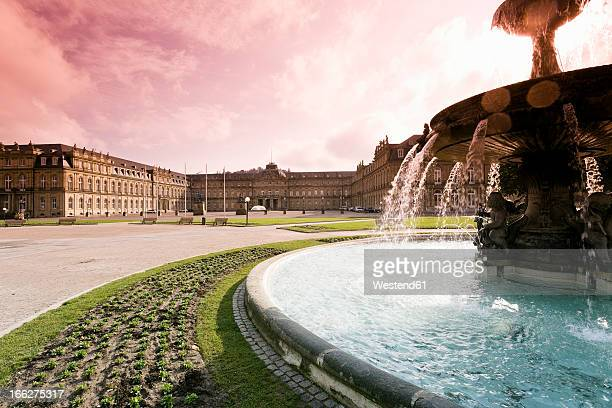 Germany, Stuttgart, Fountain at Schlossplatz