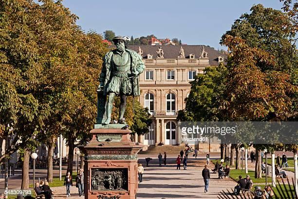 Germany, Stuttgart, Schlossplatz with statue of Duke Christoph of Wuerttemberg