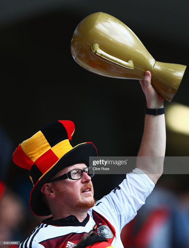 A Germany supporter enjoys the atmosphere prior to the UEFA EURO 2016 round of 16 match between Germany and Slovakia at Stade Pierre-Mauroy on June 26, 2016 in Lille, France.