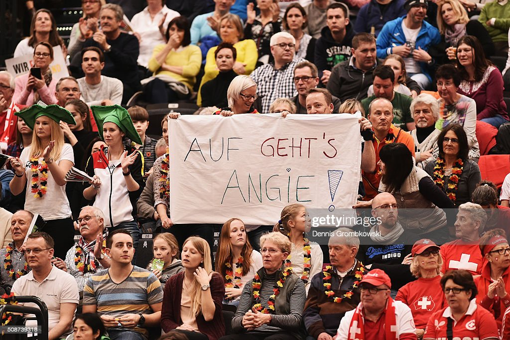 Germany supporters are seen during Day 1 of the 2016 Fed Cup World Group First Round match between Germany and Switzerland at Messe Leipzig on February 6, 2016 in Leipzig, Germany.