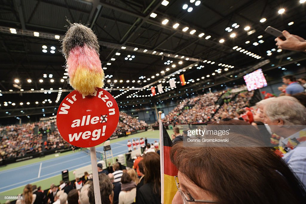 Germany supporters are seen on Day 2 of the 2016 FedCup World Group Round 1 match between Germany and Switzerland at Messe Leipzig on February 7, 2016 in Leipzig, Germany.