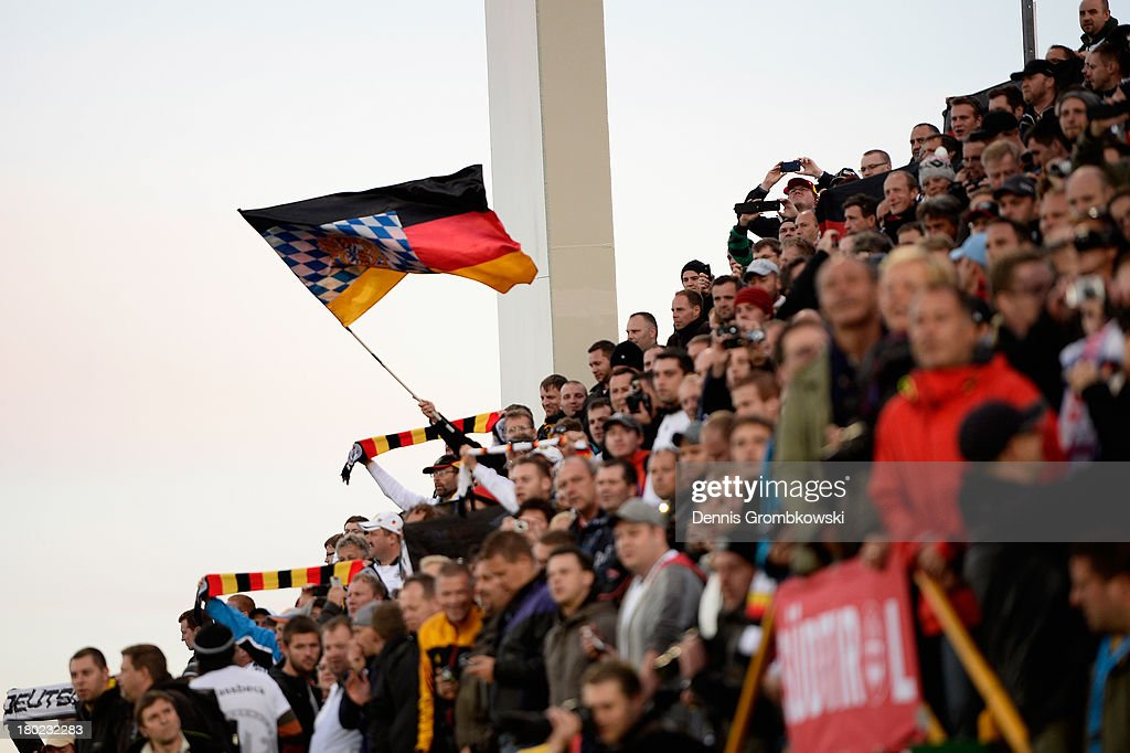 Germany supporters are seen prior to the FIFA 2014 World Cup Qualifier match between Faeroe Islands and Germany on September 10, 2013 in Torshavn, Denmark.