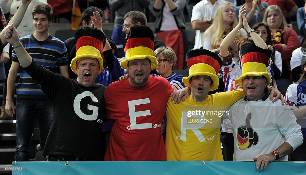Germany supporters cheer their team during the 23rd Men's Handball World Championships preliminary round Group A match France vs Germany at the Palau Sant Jordi in Barcelona on January 18, 2013.