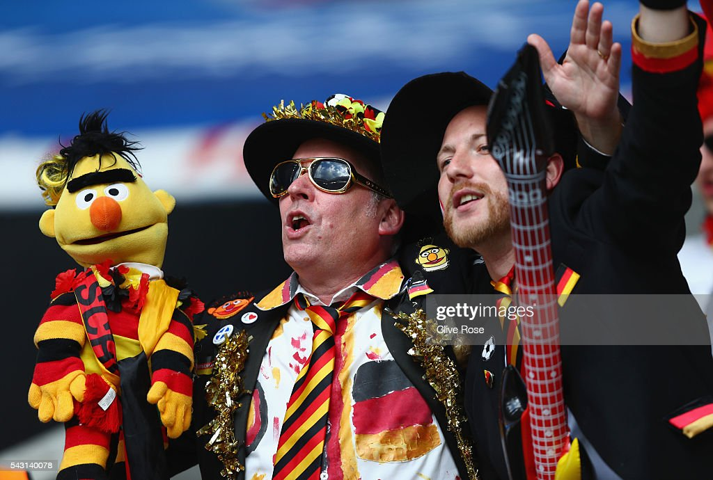 Germany supporters enjoy the atmosphere prior to the UEFA EURO 2016 round of 16 match between Germany and Slovakia at Stade Pierre-Mauroy on June 26, 2016 in Lille, France.