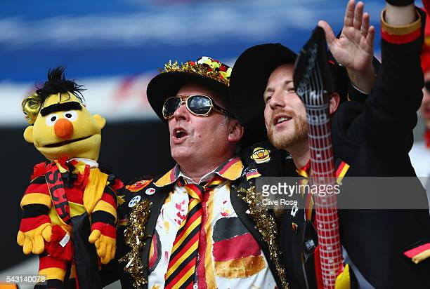 Germany supporters enjoy the atmosphere prior to the UEFA EURO 2016 round of 16 match between Germany and Slovakia at Stade PierreMauroy on June 26...