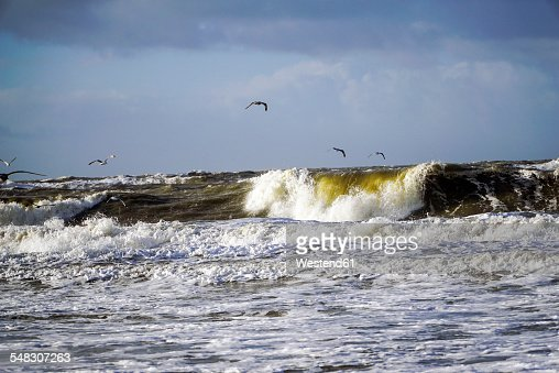 Germany, Sylt, Westerland, surging billows at storm