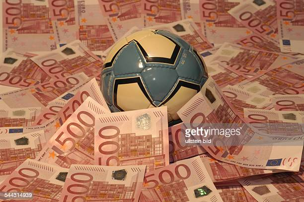 Germany symbolic photo betting scandal in the Europaen football league manipulating football matches football and Euro banknotes