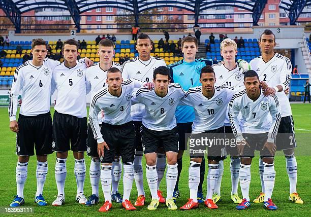 Germany team before the match between U19 Belarus and U19 Germany in the U19 Euro Qualifier on October 10 2013 in Minsk Belarus