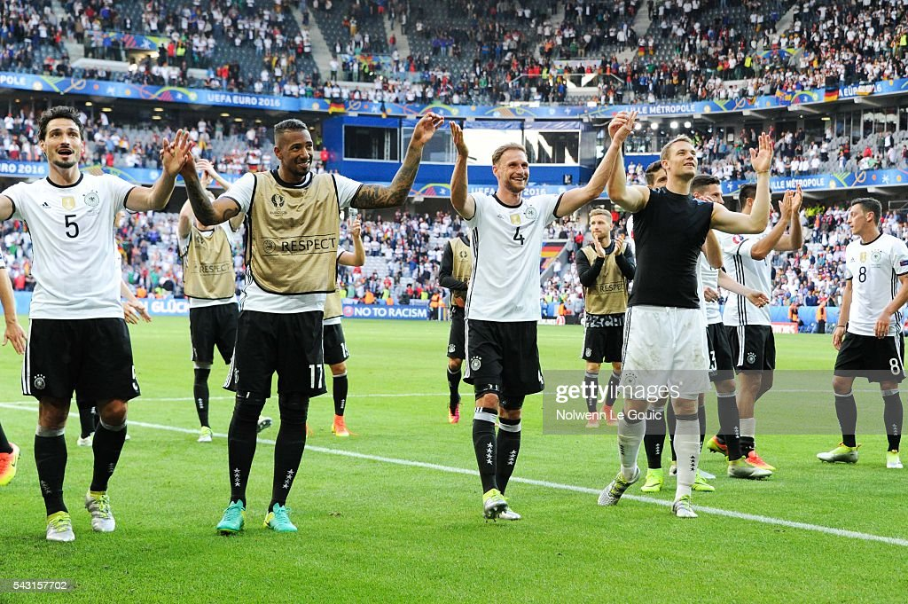 Germany team celebrates victory during the European Championship match Round of 16 between Germany and Slovakia at Stade Pierre-Mauroy on June 26, 2016 in Lille, France.