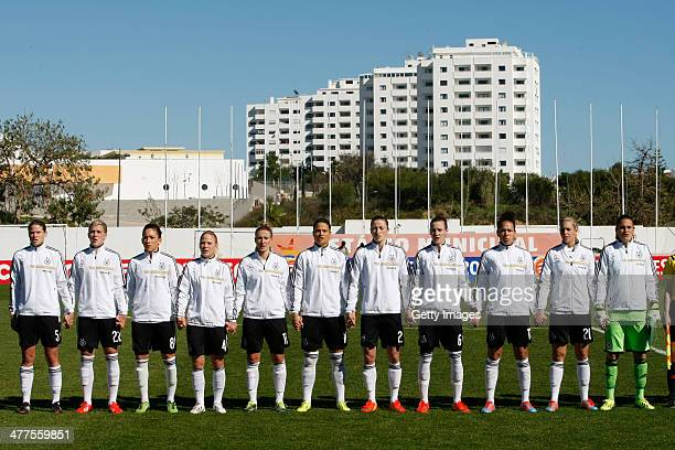 Germany team during the national anthems before the Algarve Cup 2014 match between Germany and Iceland on March 05 2014 in Albufeira Portugal