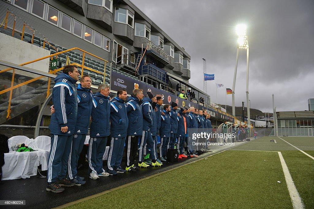 Germany team line up prior to kickoff during the 2017 UEFA European U21 Championships Qualifier between U21 Faroe Islands and U21 Germany at...