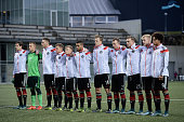 Germany team line up prior to kickoff during the 2017 UEFA European U21 Championships Qualifier between U21 Faroe Islands and U21 Germany at...