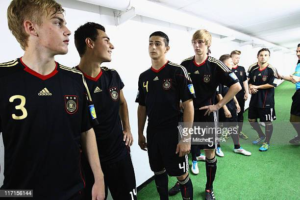 Germany team lines up in the tunnel before the Group E FIFA U17 World Cup match between Burkina Faso and Germany at the Corregidora Stadium on June...