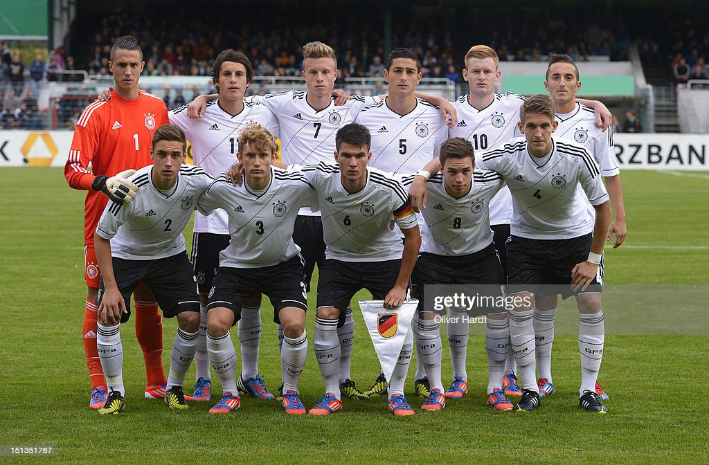 U19 Germany team poses before during the Under 19 international friendly match between Germany and England at Stadion an der Lohmuehle on September 6, 2012 in Luebeck, Germany.