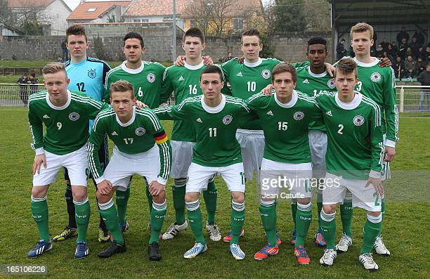 Germany Team prior to the Tournament of Montaigu qualifier match between U16 Germany and U16 England at the Stade Saint Andre D'Ornay on March 30...