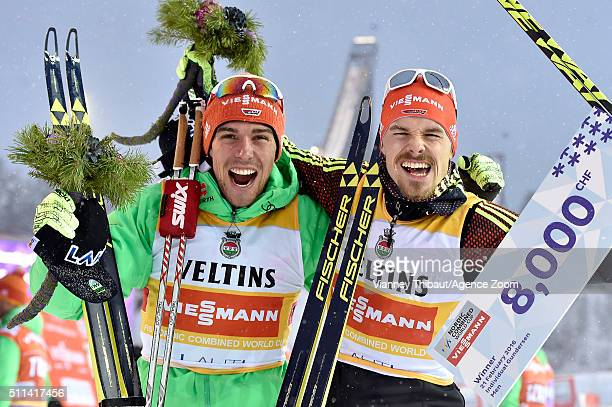 Germany Team takes 1st place during the FIS Nordic World Cup Men's Nordic Combined Team Sprint on February 20 2016 in Lahti Finland