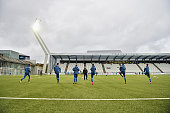 Germany team warm up prior to kickoff during the 2017 UEFA European U21 Championships Qualifier between U21 Faroe Islands and U21 Germany at...