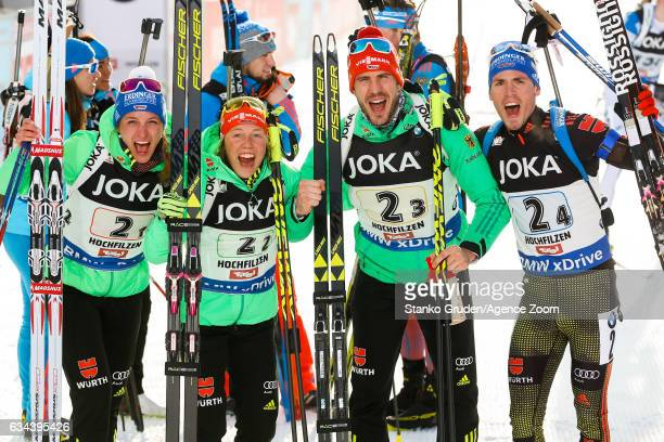 Germany Team wins the gold medal during the IBU Biathlon World Championships Mixed Relay on February 9 2017 in Hochfilzen Austria