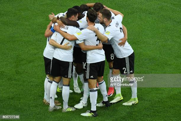 Germany teammates celebrate a goal during the 2017 Confederations Cup final football match between Chile and Germany at the Saint Petersburg Stadium...