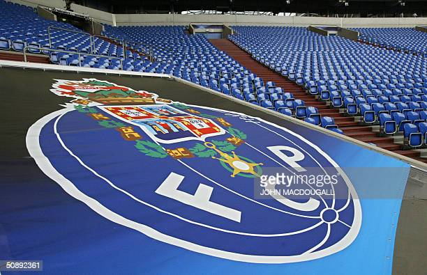 The logo of the Portugese soccer team FC Porto is seen 24 May 2004 in the Arena AufSchalke stadium in the western town of Gelsenkirchen where the...