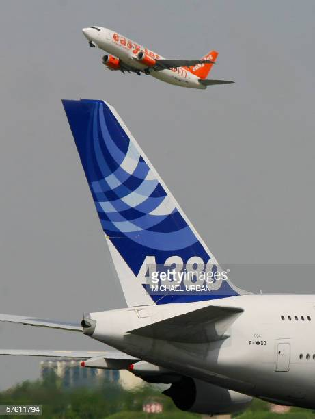 The tail fin of an Airbus A380 plane is seen as a passenger plane of low cost airline easyjet starts at Berlin's Schoenefeld airport 15 May 2006 The...
