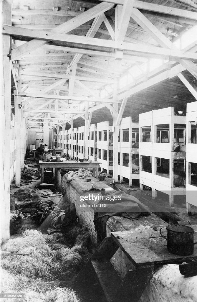 Germany Third Reich concentration camps 193945 View of the barracks of Auschwitz concentration camp