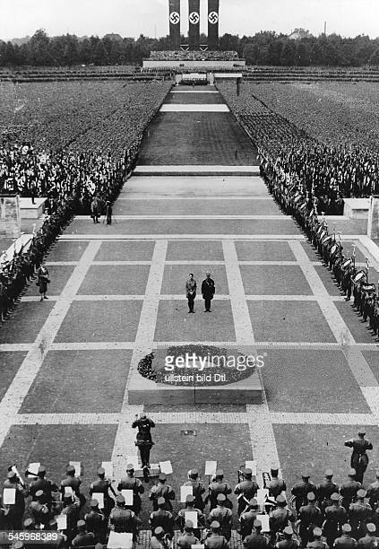 Germany Third Reich Nuremberg Rally 1933 Adolf Hitler and Ernst Roehm during a mass rally of the SA and SS in commemoration of those who fell for the...