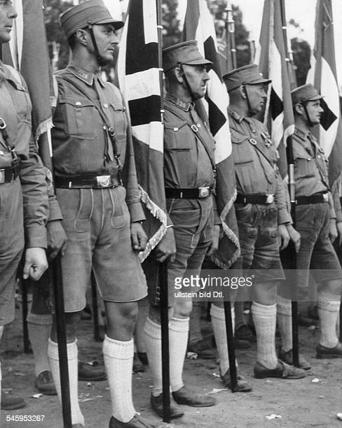 Germany Third Reich Nuremberg Rally 1933 Standards of the Bavarian SA during a rally of the SA and the SS Photographer Max Ehlert