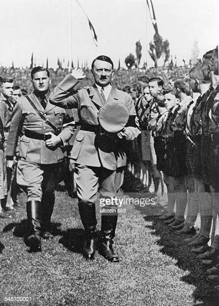 Germany Third Reich Nuremberg Rally 1934 Adolf Hitler and Baldur von Schirach the Nazi youth leader at their arrival in the stadium for the rally of...