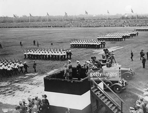 Germany Third Reich Nuremberg Rally 1934 Parade of the navy on 'Defense Force Day' at the rally ground in Nuremberg
