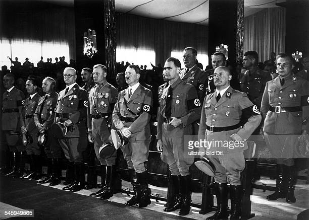 Germany Third Reich Nuremberg Rally 1935 Opening ceremony of the party convention in the Luitpold Hall| front row from the right the head of the Nazi...