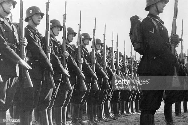 Germany Third Reich Nuremberg Rally 1935 Roll call of SS and SA units at the rally ground