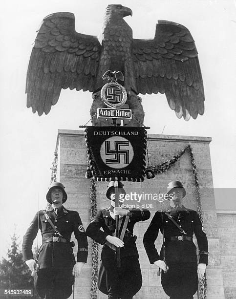 Germany Third Reich Nuremberg Rally 1935 The `Leibstandarte Adolf Hitler' with its standard during a roll call of the SA and SS