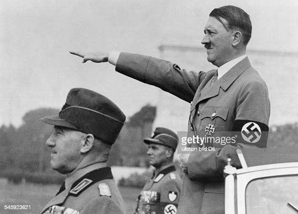 Germany Third Reich Nuremberg Rally 1937 Adolf Hitler taking the salute of the Reich Labour Service front left Konstantin Hierl the head of the...