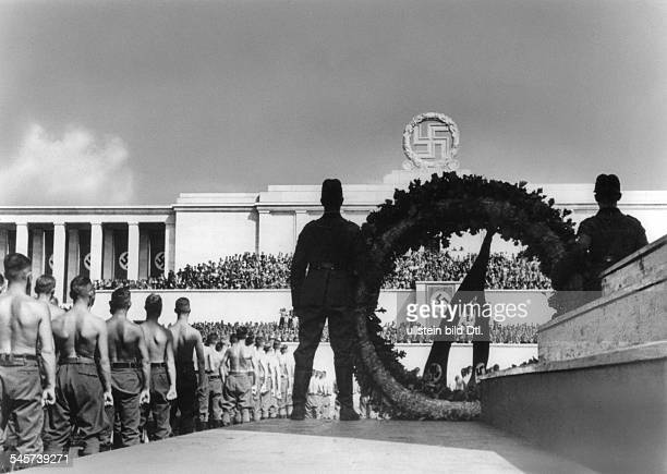 Germany Third Reich Nuremberg Rally 1937 Parade of the Reich Labour Service at the rally ground