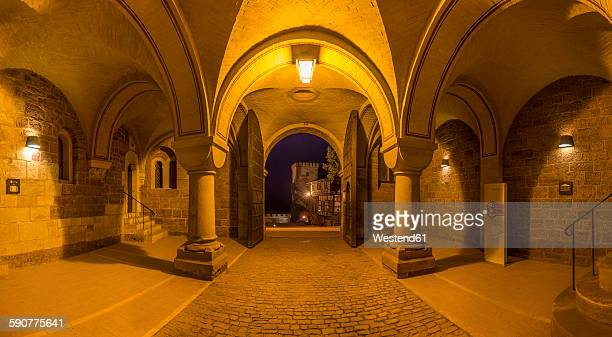 Germany, Thuringia, Eisenach, Wartburg, gate in the evening