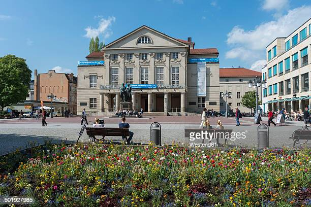 Germany, Thuringia, Weimar, View of German National Theatre and Goethe-Schiller Monument